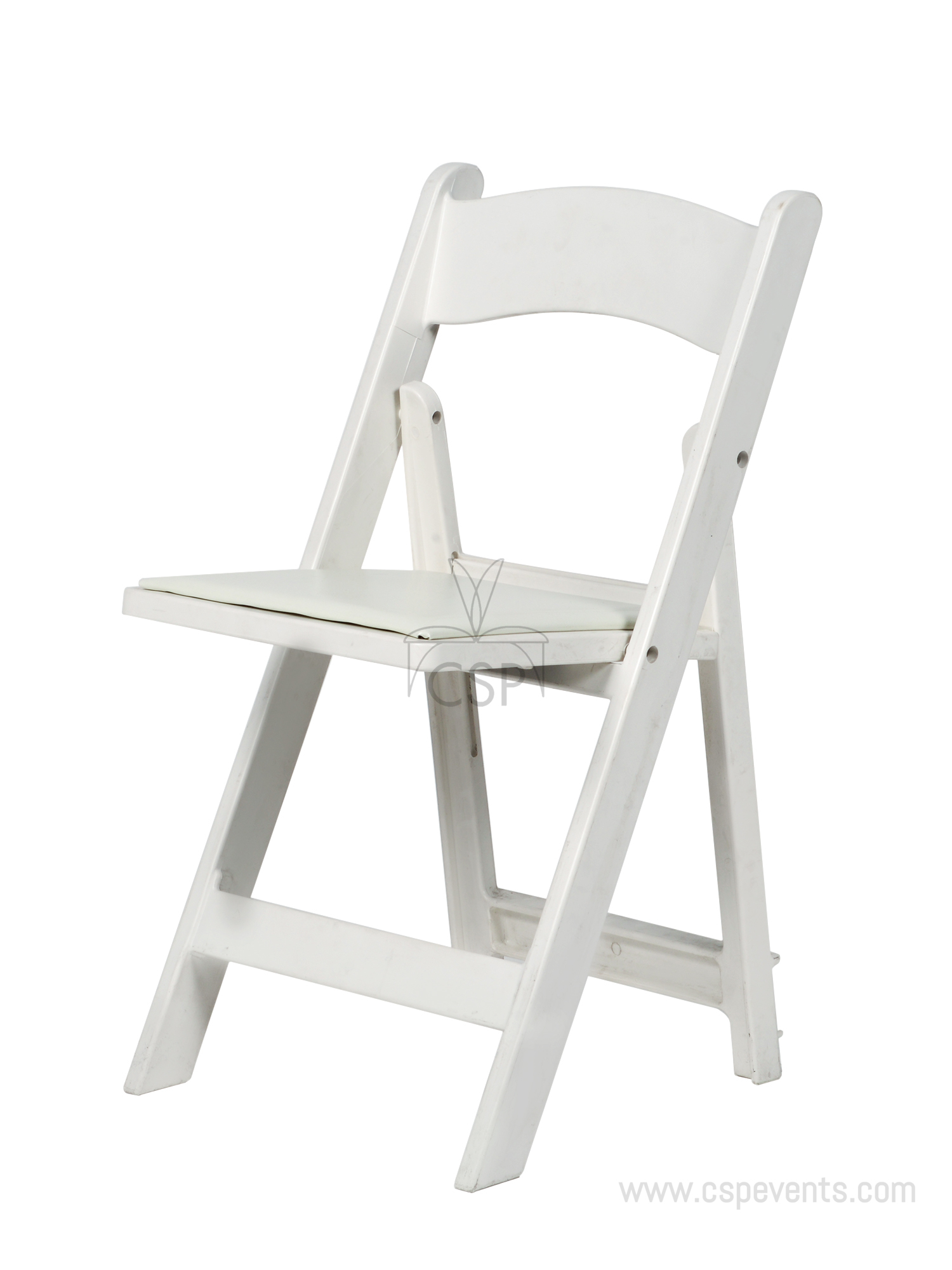 max resin folding chair with vinyl padded seat csp